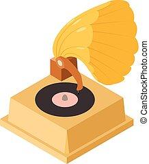 icône, phonographe, isométrique, style