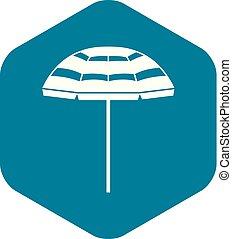 icône, plage, style, parapluie, simple
