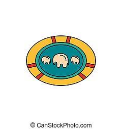 icône, plaque, style, dessin animé, africaine