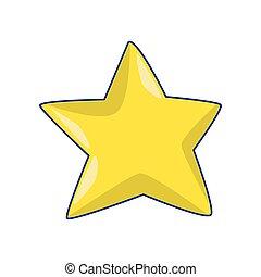 icône, plat, étoile, conception, jaune