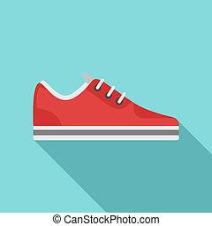 icône, plat, basket, style, rouges