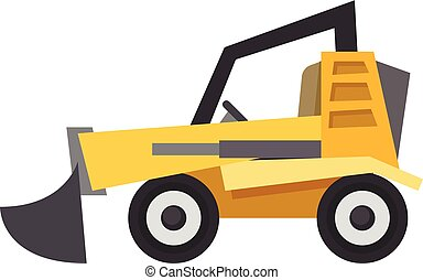 icône, plat, bulldozer, style