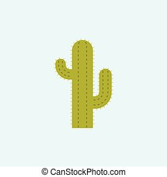 icône, plat, cactus, conception