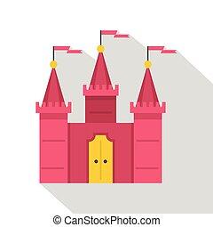 icône, plat, château, style
