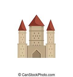 icône, plat, château, style, moyen-âge