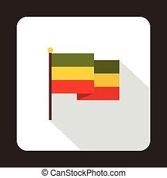 icône, plat, drapeau, style, rasta