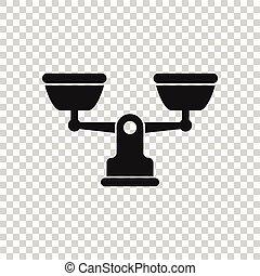 icône, plat, justice, vecteur, blanc, illustration, échelle,...