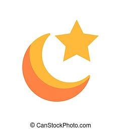 icône, plat, lune, style, étoile, nuit