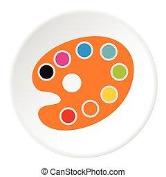 icône, plat, palette, style, dessin