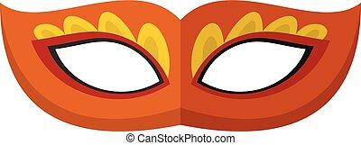 icône, plat, plume, masque, style