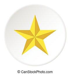 icône, plat, style, étoile, jaune