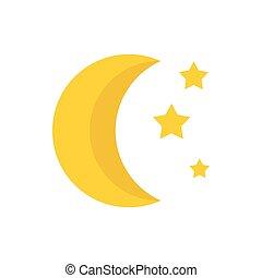 icône, plat, style, étoiles, lune