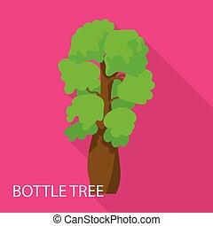 icône, plat, style, arbre, bouteille