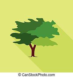icône, plat, style, arbre
