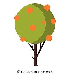 icône, plat, style, arbre fruitier