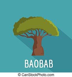 icône, plat, style, baobab arbre