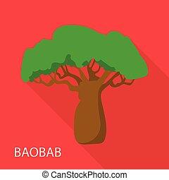 icône, plat, style, baobab