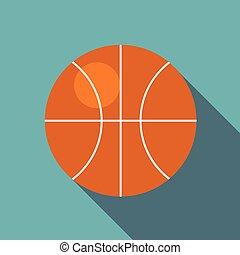 icône, plat, style, boule basket-ball