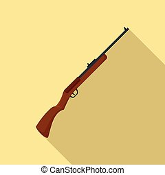 icône, plat, style, chasse, fusil
