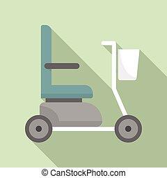 icône, plat, style, fauteuil roulant électrique
