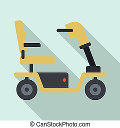 icône, plat, style, fauteuil roulant motorisé