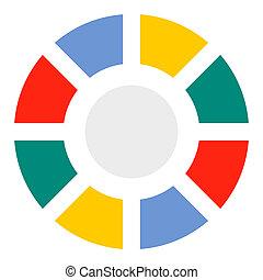 icône, plat, style, graphique circulaire