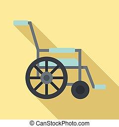 icône, plat, style, mobilité, fauteuil roulant