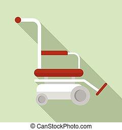 icône, plat, style, moteur, fauteuil roulant