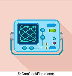 icône, plat, style, oscilloscope