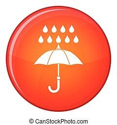 icône, plat, style, parapluie, pluie