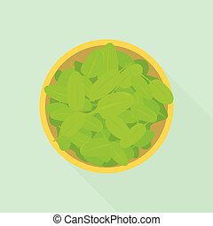 icône, plat, style, salade, épinards