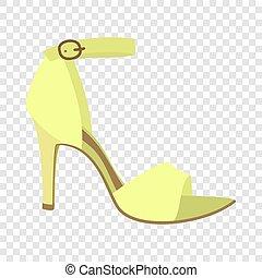 icône, plat, style, sandale, femme