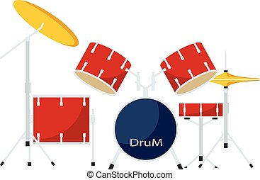 icône, plat, style, tambours, kit