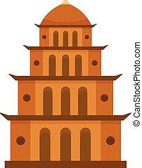 icône, plat, style, temple