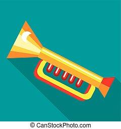 icône, plat, style, trompette, plastique