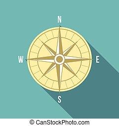 icône, plat, vecteur, conception, compas