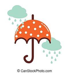 icône, pluvieux, ciel, parapluie, nuages