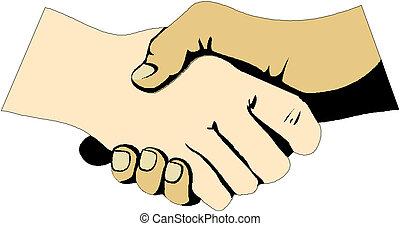 icône, poignée main