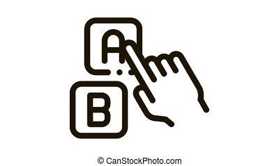 icône, pointage, animation, lettre