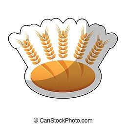 icône, pointes, isolé, délicieux, pain