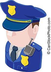 icône, police, avatar, homme, gens