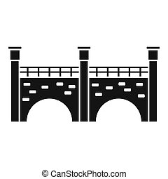 icône, pont, pierre, style, simple