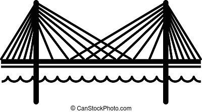 icône, pont, style, noir, simple