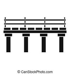 icône, pont, style, rivière, simple
