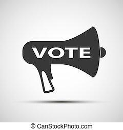 icône, porte voix, à, les, mot, vote