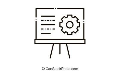 icône, présentation, engrenage, animation