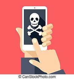 icône, prise, smartphone, crâne, main