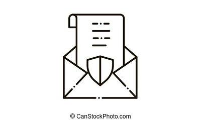 icône, protégé, lettre, animation