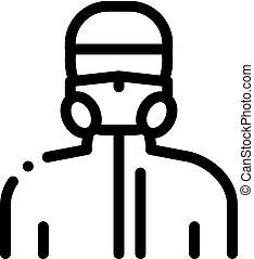 icône, protecteur, contour, humain, illustration, masque, vecteur