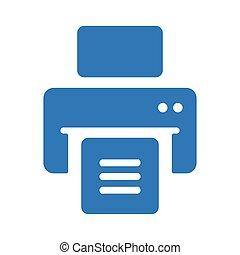 icône, publier, bleu, imprimante, dehors, impression, ...